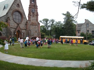 The bus from Port Chester drops off the kids for the first day of the Ward Summer Institute